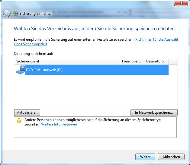 Sicherung Windows 7