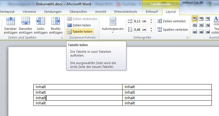 tabelle trennen word