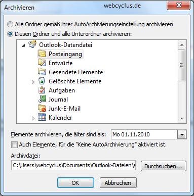 Outlook 2010 archivieren Anleitung
