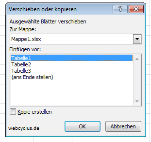 Excel 2010 Arbeitsblatt kopieren - webcyclus