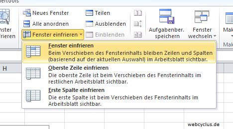 Excel 2010 Zeilen fixieren