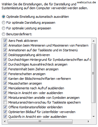 Leistungseinstellungen Windows 8